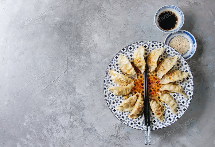 Gyozas potstickers asian dumplings