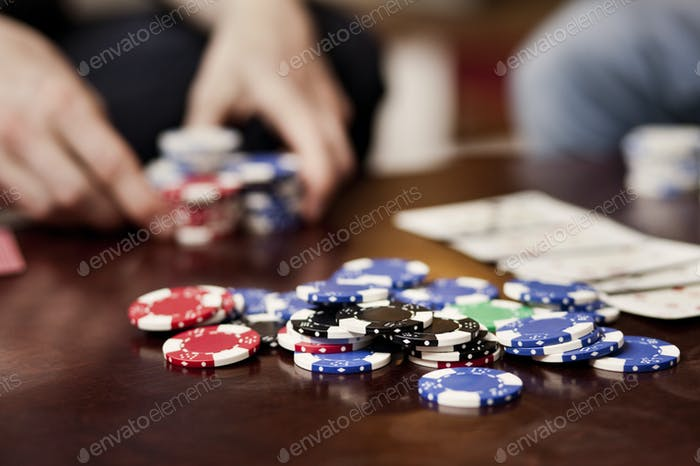 Gambling chips on table at casino