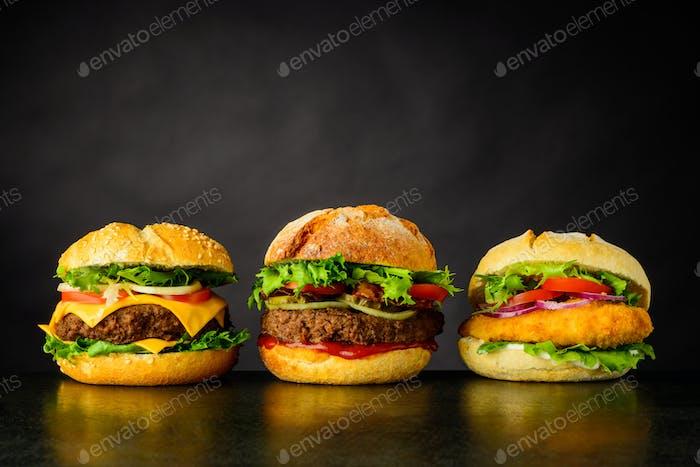 Cheeseburger, Burger and Chickenburger