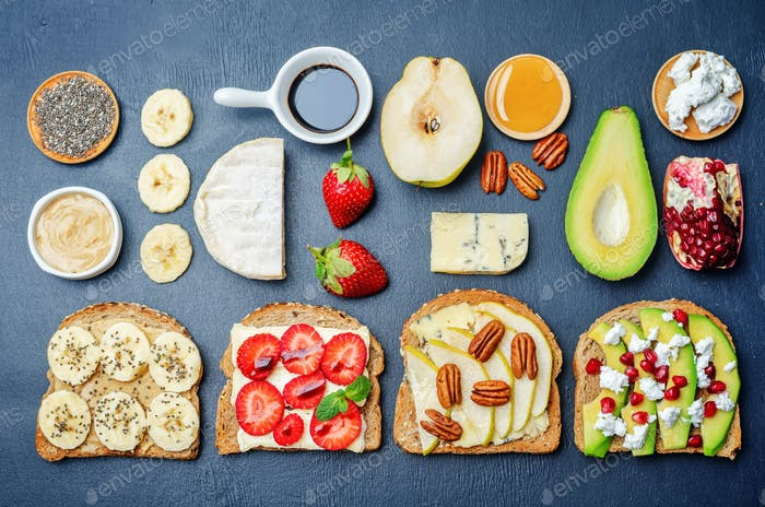set healthy sandwiches with vegetables and fruits with the ingre