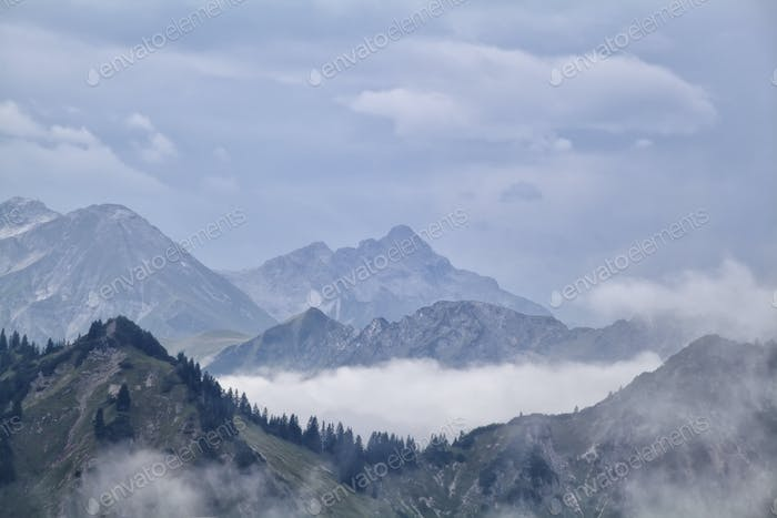 fog between mountain ridges