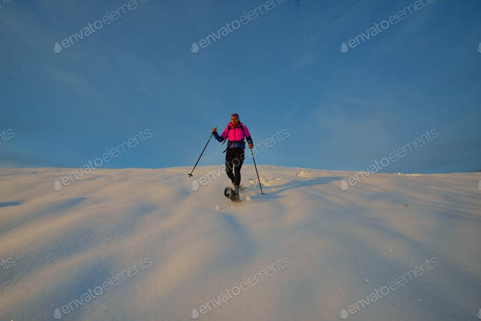 Downhill with snowshoes