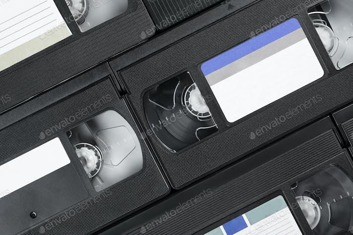 Heap of black tape video cassettes