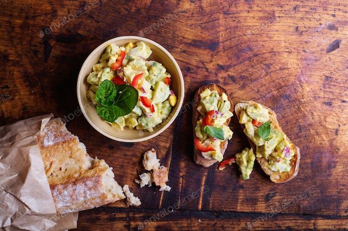 Bruschetta with avocado spread