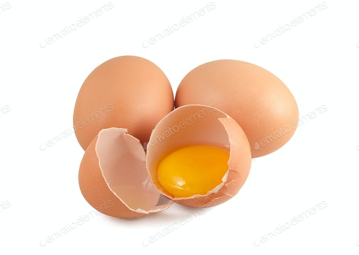 Three raw eggs