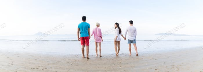 Young People Group On Beach Summer Vacation, Friends Walking Seaside Back Rear View