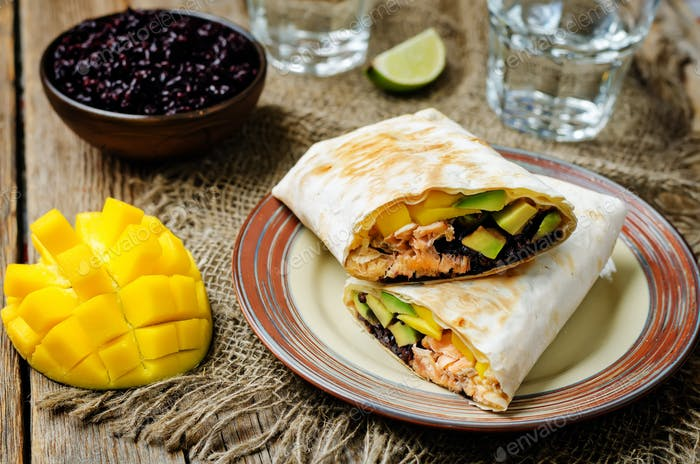 Salmon avocado mango black rice burritos