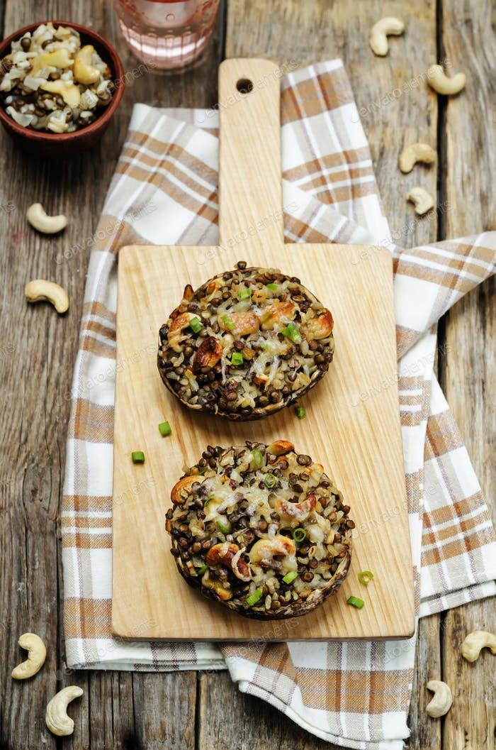 green lentils, brown rice, cashew stuffed portobello