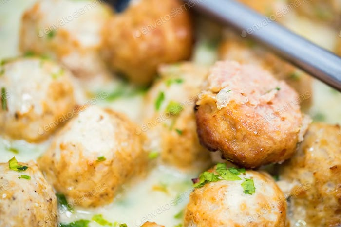 Close up of fresh delicious chicken meatballs