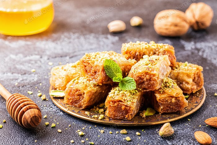 Homemade baklava with nuts and honey.
