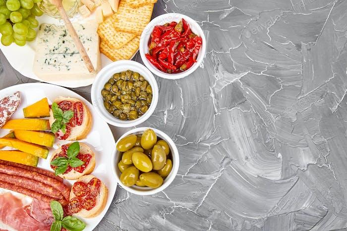 Italian antipasti wine snacks set. Italian food.