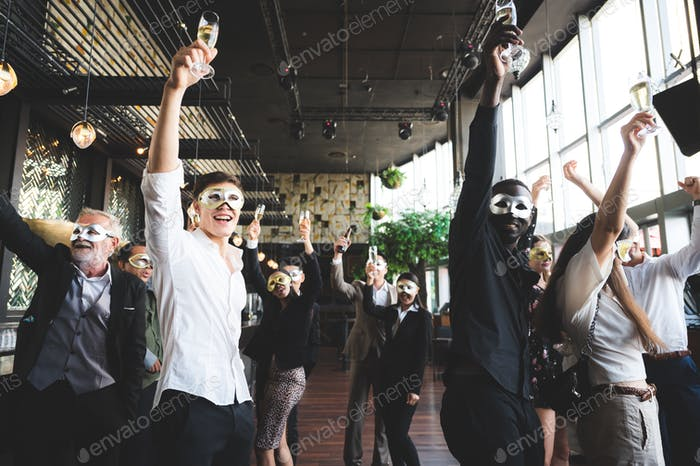 Cheers! Group of people cheering with champagne flutes in pub interior background