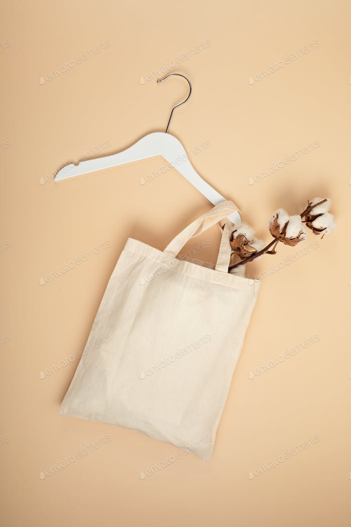 Mockup with organic cotton tote bag. Sustainable ethical consumption idea