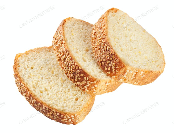 Slices of white bread with seeds