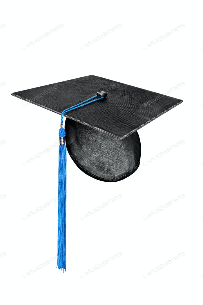 graduation cap with blue tassel