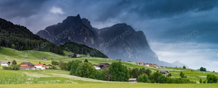 Panoramic dramatic image of scenery in the Dolomites. Summer in