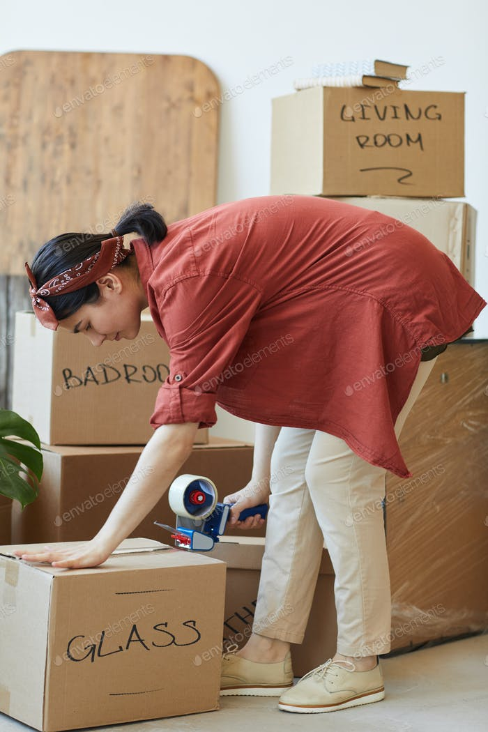 Woman packing things