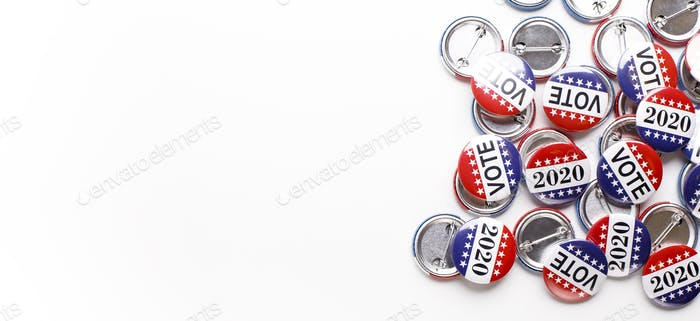 Variety Of Presidential Election Buttons isolated on white