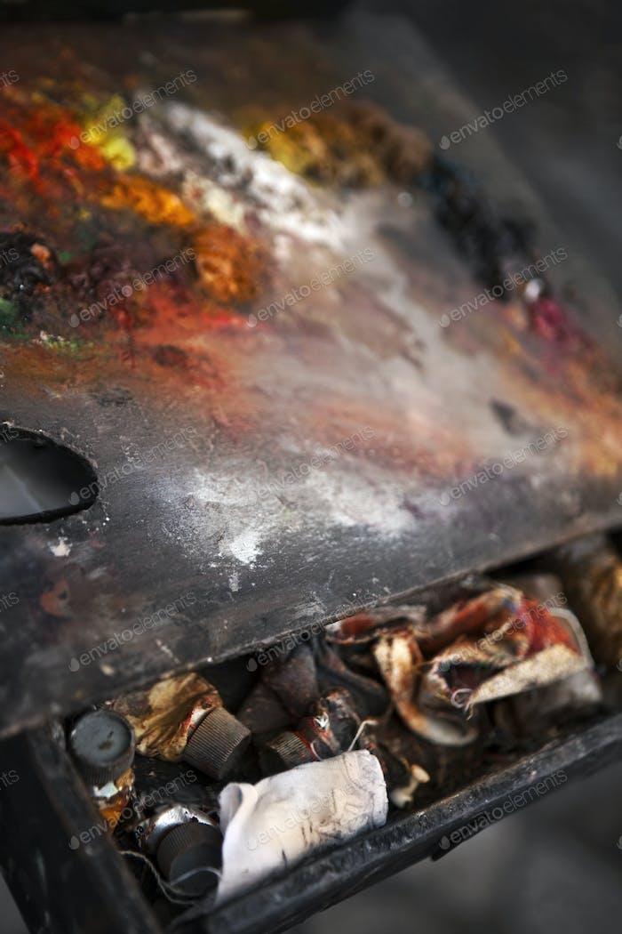 Close up of a painter palette
