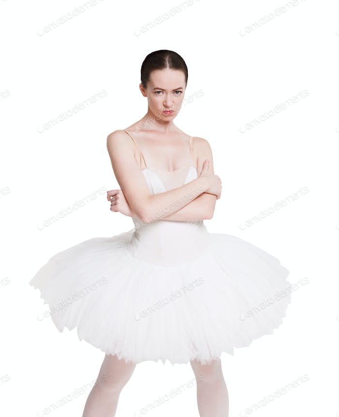 Angry naughty ballerina portrait isolated on white background