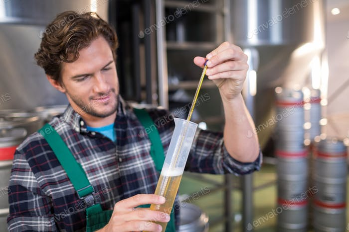 Confident worker examining beer