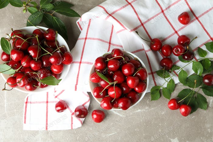 Concept of sweet berry with red cherry