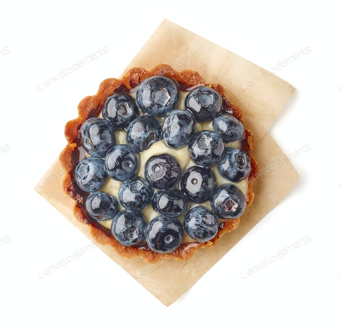 blueberry tart on white background