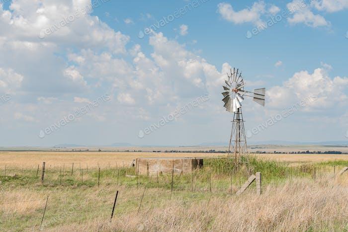 Farm scene with water-pumping windmill between Verkeerdevlei and Excelsior