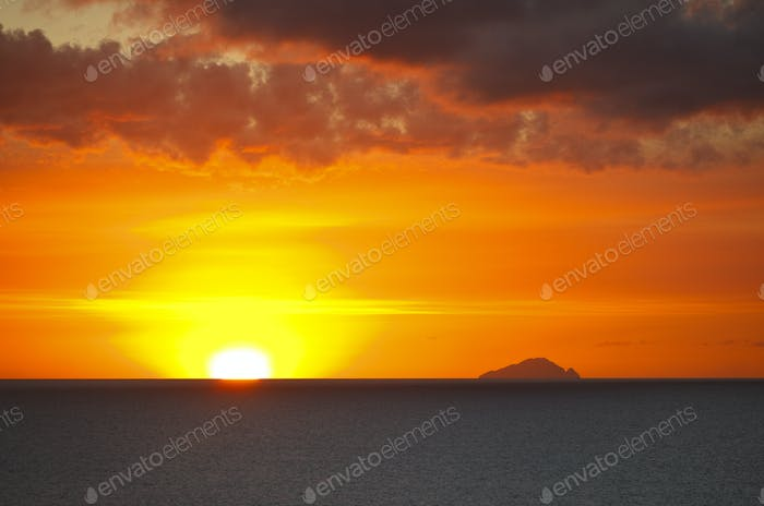 Redonda With Colorful Sunset, Antigua