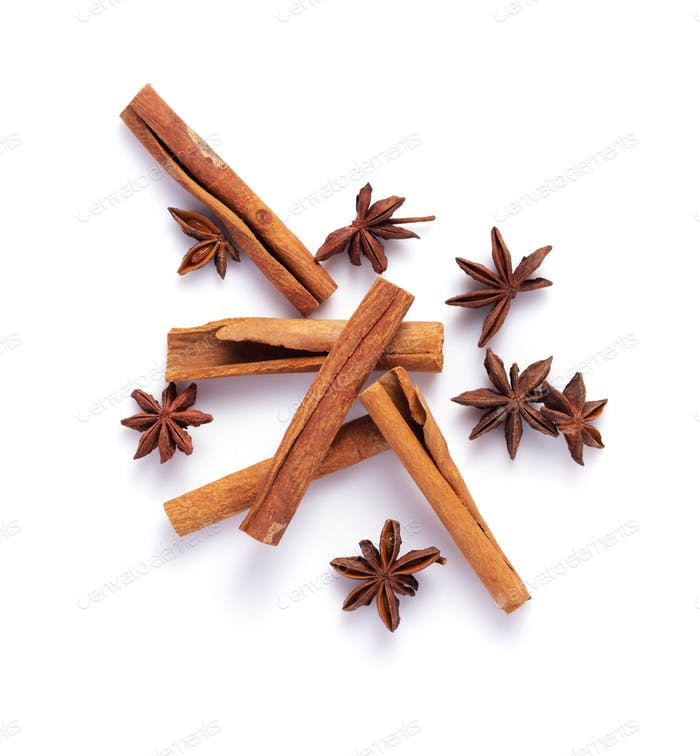 anise star and cinnamon stick