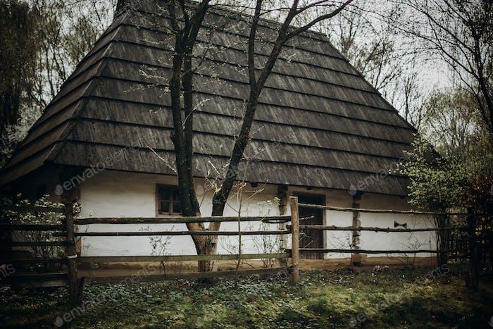 Ethnic wooden storage building in Scandinavia