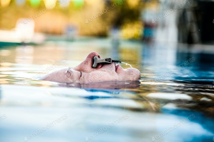 Freediver Relaxing and breathing Before his Performance