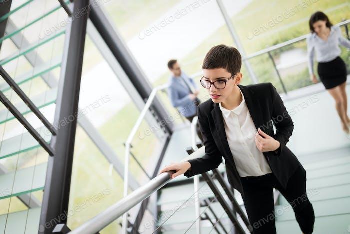 Company CEO busy walking in office
