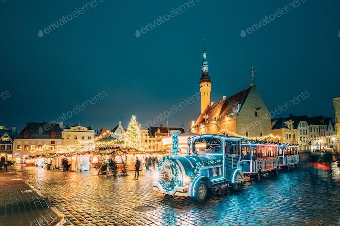 Tallinn, Estonia. Holiday Train for Sightseeing Near Traditional