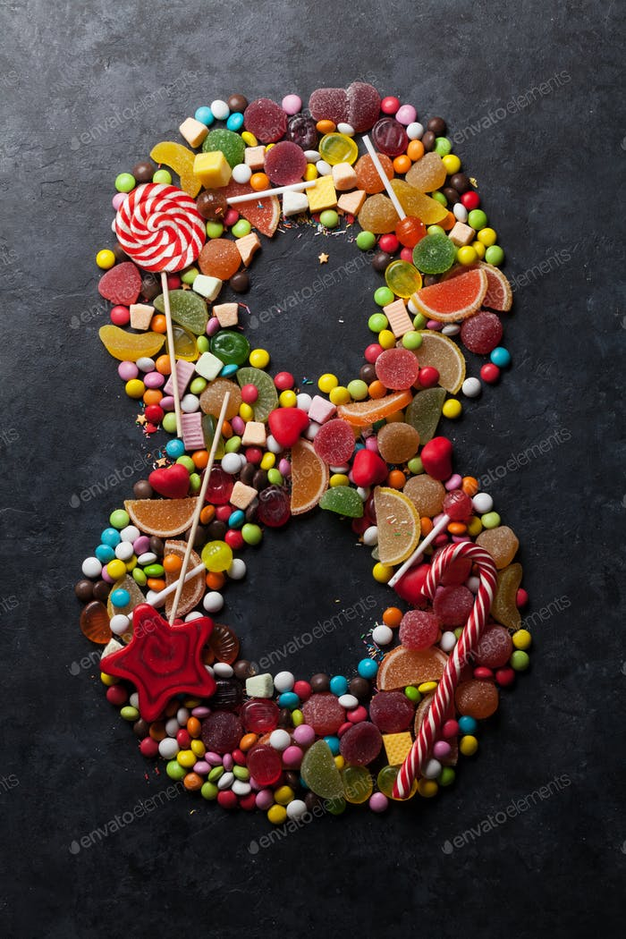Number eight made from candies