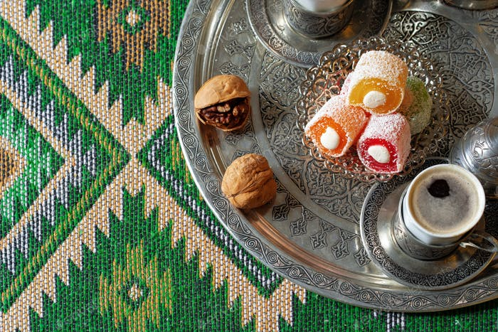 Turkish Coffee served with Turkish Delight on metal tray