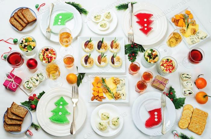 Weihnachten Vorspeisen Feier Tisch Einstellung