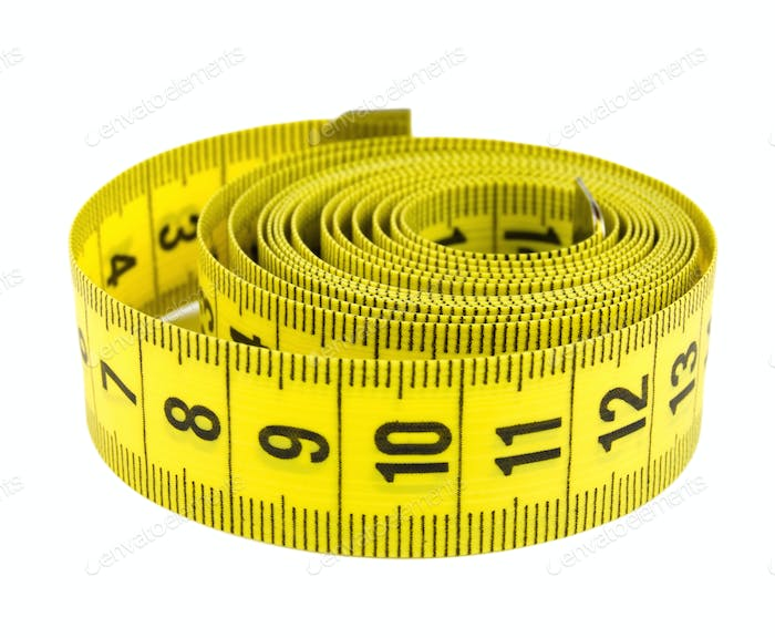 Curled yellow measuring tape