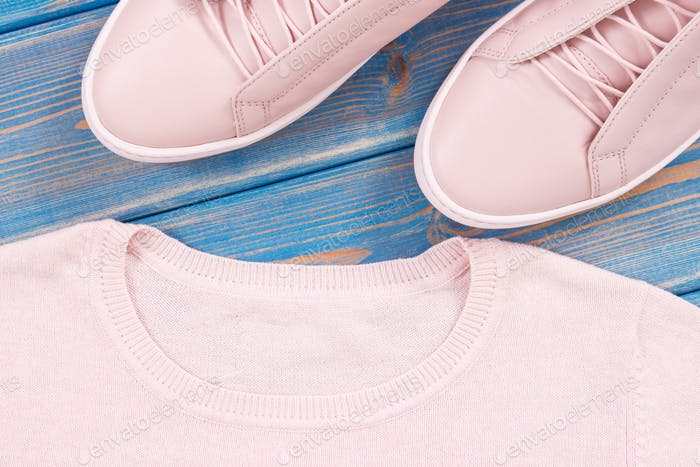 Pair of pink womanly leather shoes and sweater on old blue boards