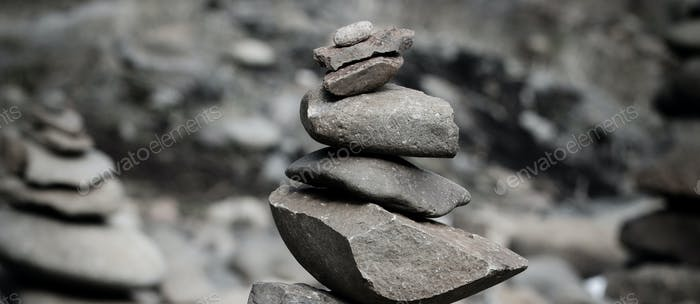 Rocks stacked high