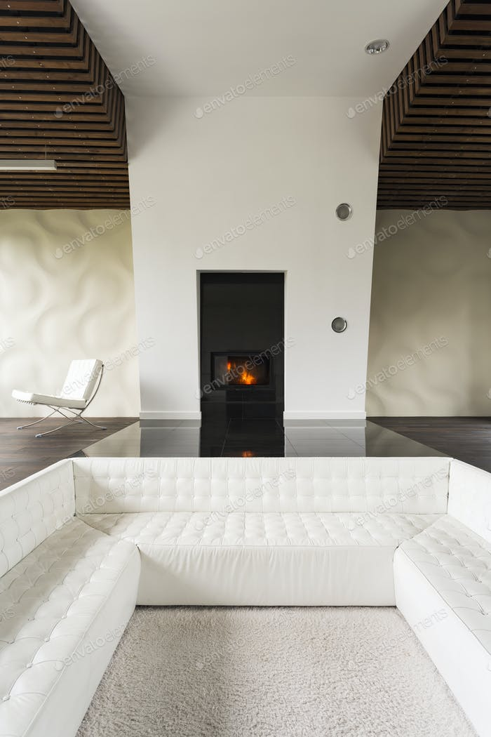 Fireplace and sofa