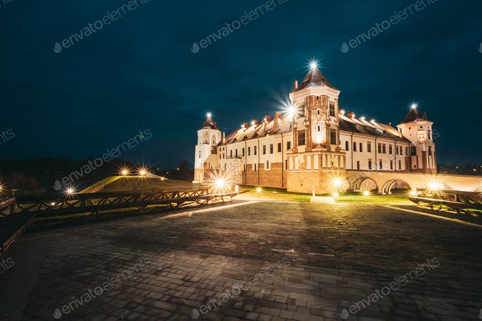 Mir, Belarus. Castle Complex Mir In Evening Or Night Illuminatio