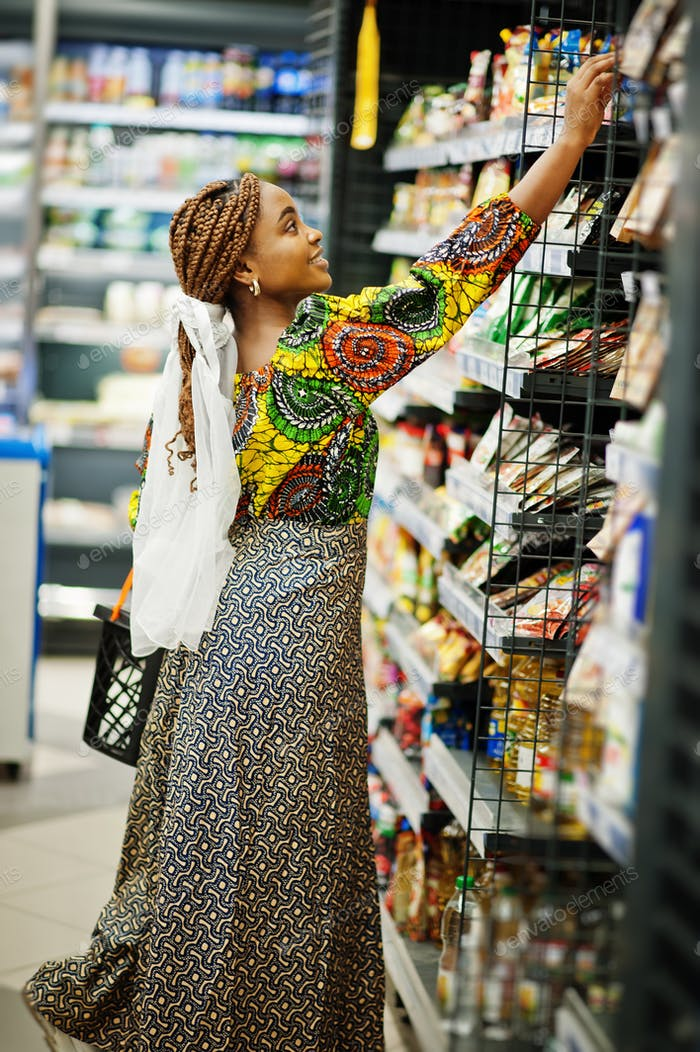 Afro black women costumer at the market.