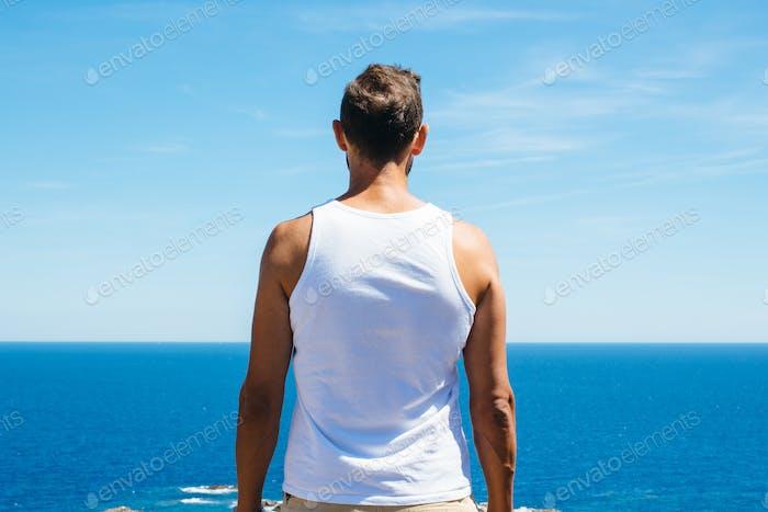 Handsome man at seaside
