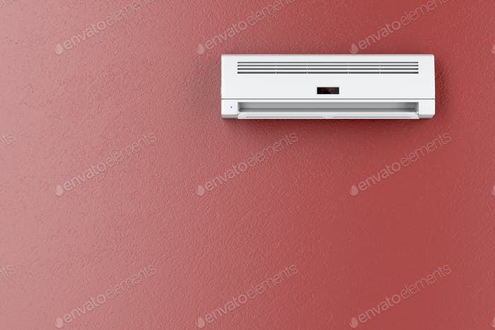 Klimaanlage an roter Wand