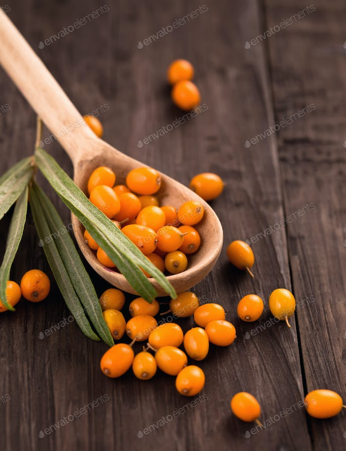 Fresh sea-buckthorn berries in wooden spoon