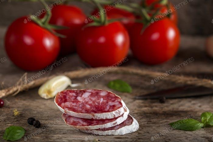 Italian salami slices