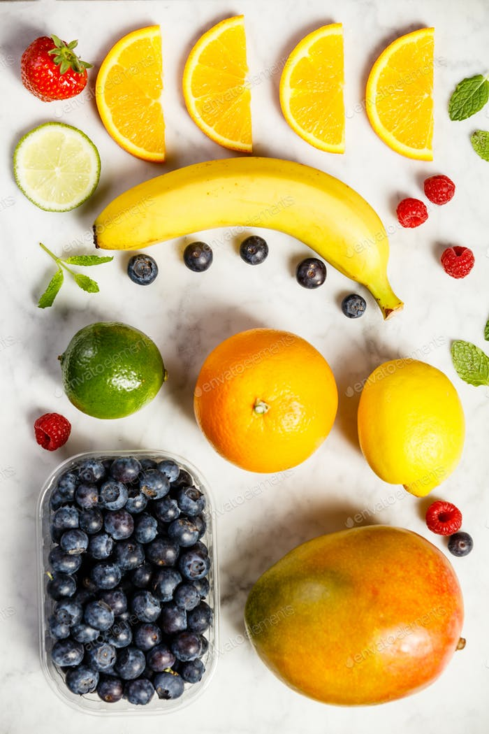 Flat-lay of organic fruits