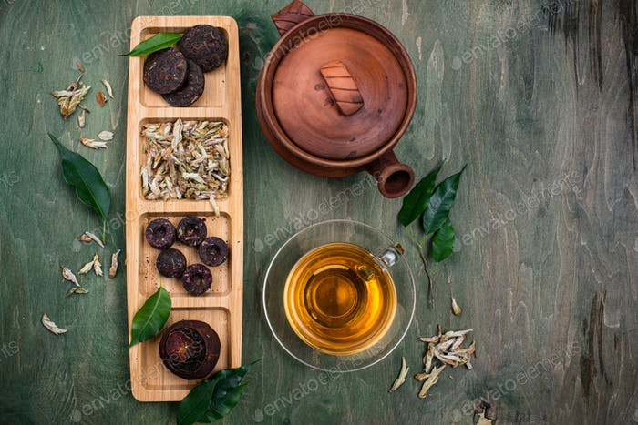 Different pressed Chinese pu-erh tea