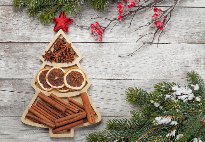 Christmas card with spices and tree